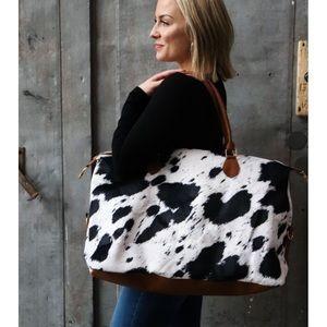 Faux Cow Hide Animal Print Weekender Travel Bag